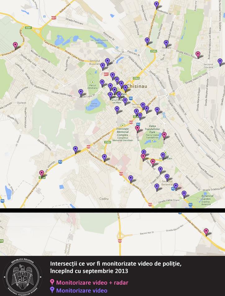 Harta Străzile Chișinăului Vor Fi Monitorizate Cu Camere Video și