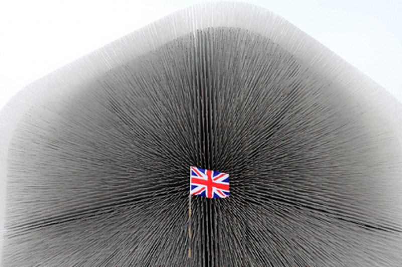 2. A British national flag is seen in front of the Seed Cathedral, the centerpiece of the UK Pavilion at the Shanghai World Expo site, in Shanghai – 14.03.2010