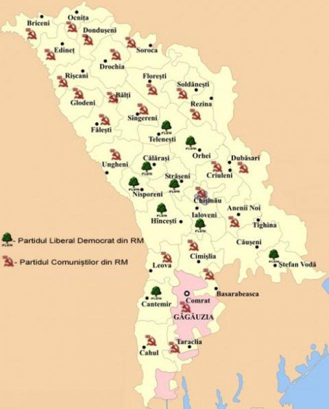 Harta Republicii In Culorile Rosu Si Verde Moldova